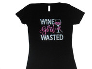 Wine Girl Wasted Sparkly Swarovski Rhinestone Tee Shirt