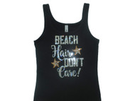 Beach Hair Don't Care Sparkly Rhinestone Tank Top