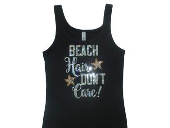 Beach Hair Don't Care Sparkly Rhinestone Tank Top