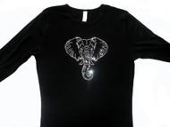 Sparkly elephant Swarovski rhinestone ladies t shirt