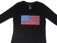 United States of America Flag Rhinestone Women's Tee Shirt