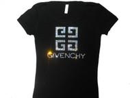Givenchy inspired Swarovski rhinestone ladies tee shirt