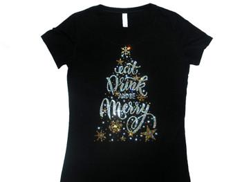 Eat Drink & Be Merry Christmas Women's Rhinestone Tee Shirt