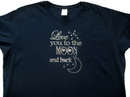 Love you to the moon & back sparkly rhinestone women's t shirt