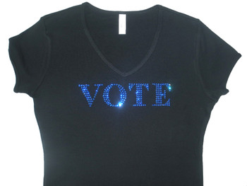 Vote Democratic Republican Blue Red Swarovski rhinestone election t shirt