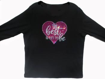 The Best Is Yet To Be Swarovski rhinestone ladies tee shirt