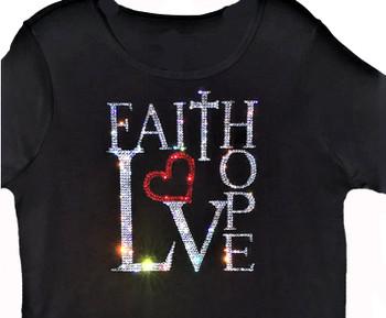 Faith Hope Love sparkly rhinestone Swarovski t shirt