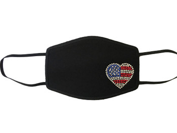Swarovski crystal rhinestone face mask patriotic red white and blue heart.