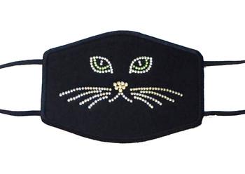 Cat kitty rhinestone face mask made with genuine Swarovski crystals