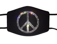 Peace Sign Symbol Swarovski crystal face mask