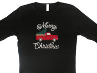 Merry Christmas Tree in Red Truck Swarovski Crystal Ladies T Shirt