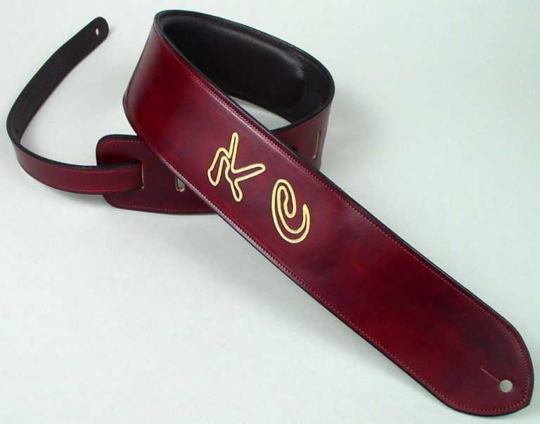 Etched Leather Guitar Straps