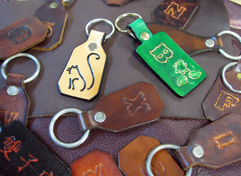 Homemade Leather Key Tags