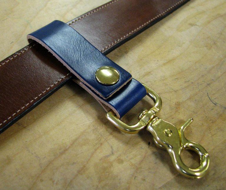 Finished leather belt key holder