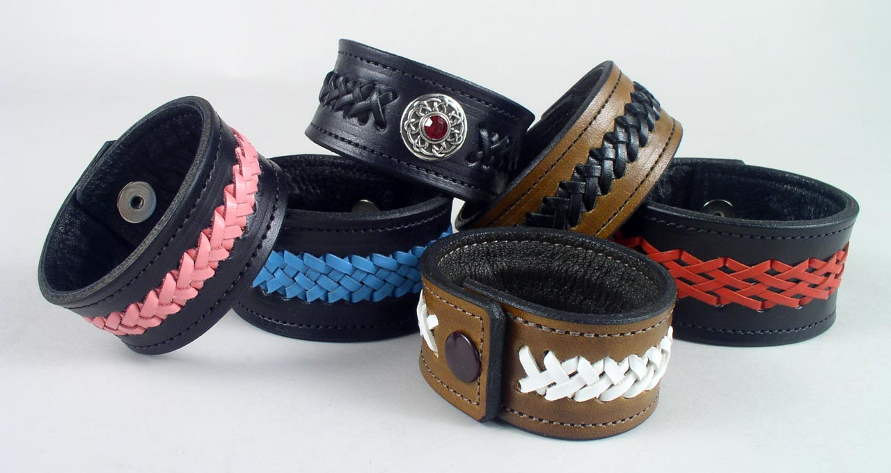 leather braided wristbands bracelets