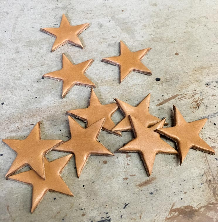 Cut out decorative leather star pieces