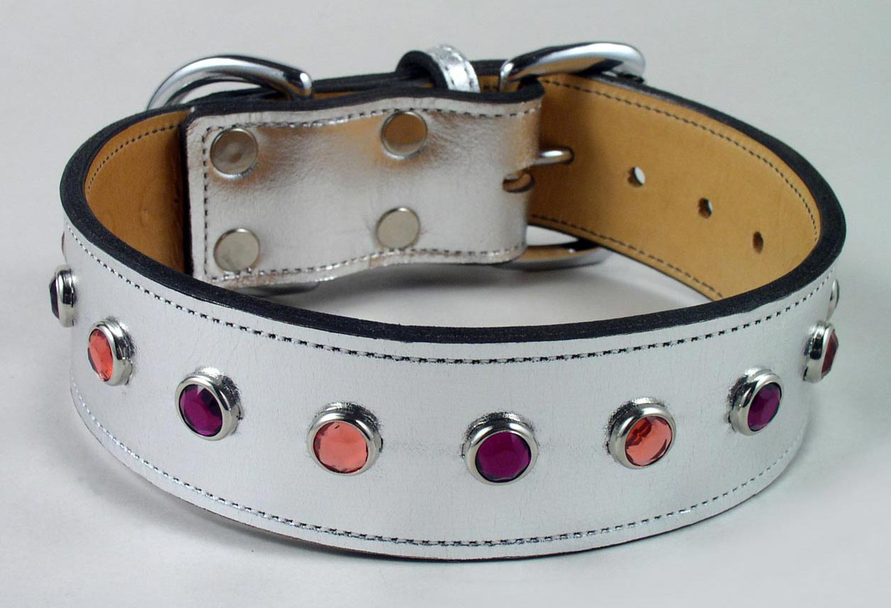 metallic bling leather dog collars with jeweled studs