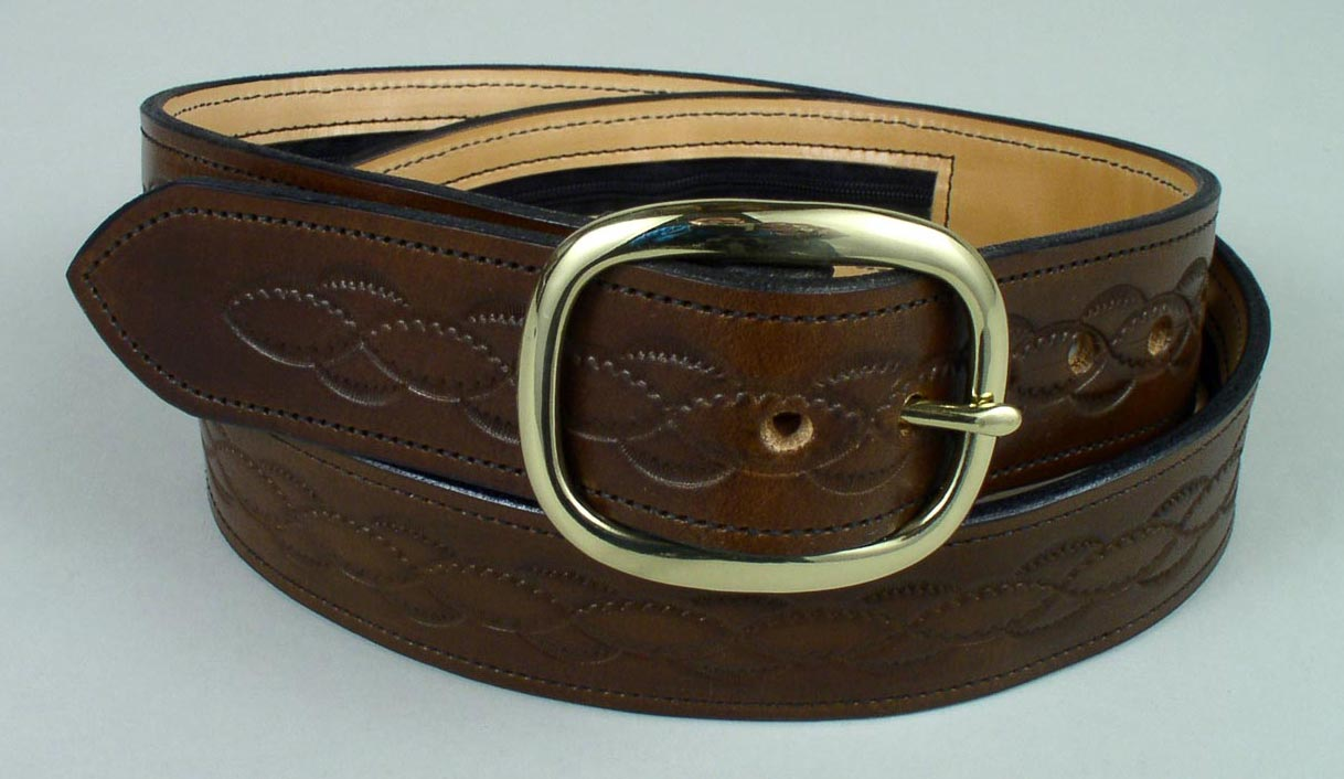 personalized leather money belts with long zipper