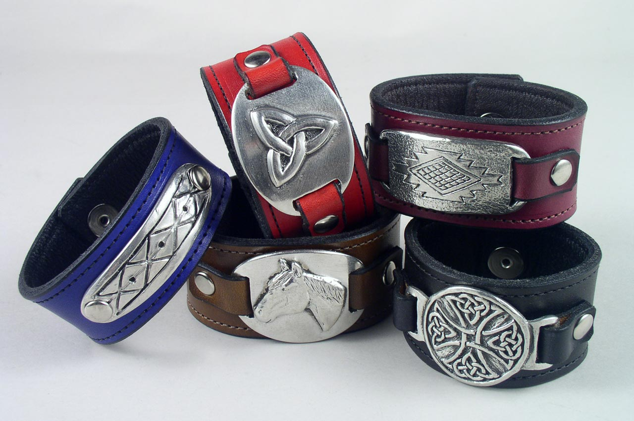 pewter leather bracelets wristbands