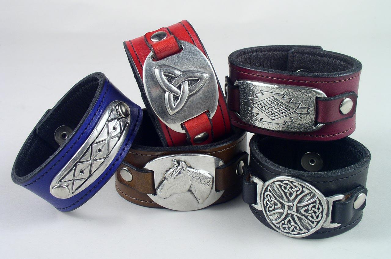 pewter leather bracelets wristbands