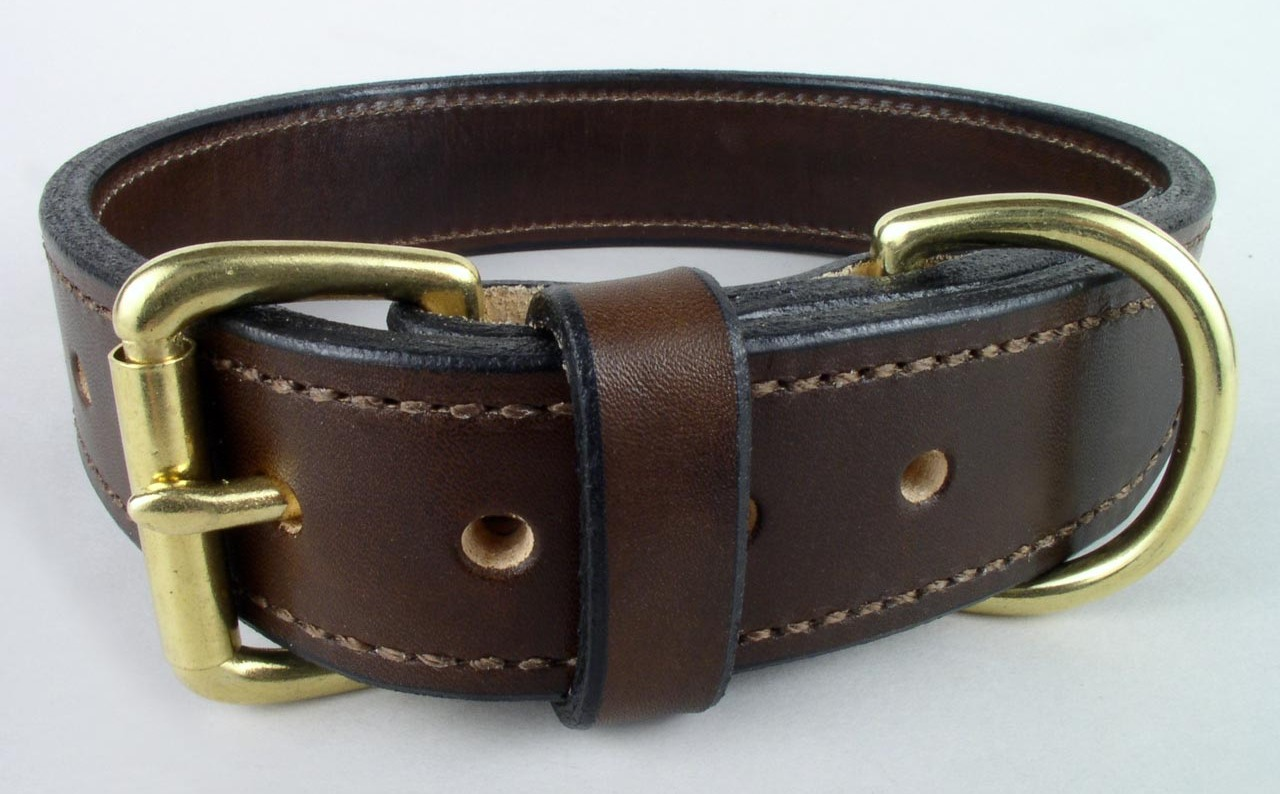 plain handmade leather dog collars
