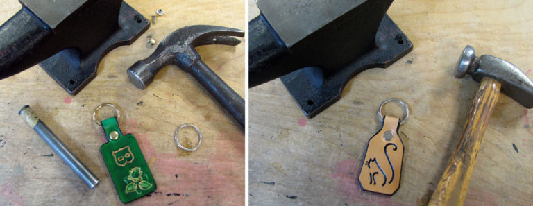 Riveting the Split Rings on your DIY Leather Key Fobs