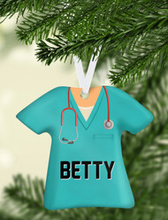 Scrub Top Aqua Ornament