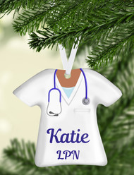 Scrub Top White Ornament