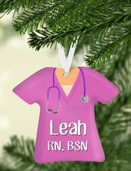 Scrub Top Pink Ornament