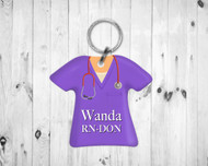 Scrub Top Keychain Purple