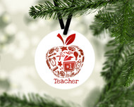 Teacher Apple Red Ornament