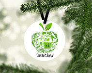 Teacher Apple Green Ornament