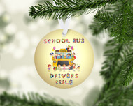Bus Drivers Rule Gold Ornament