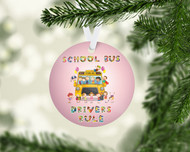 Bus Drivers Rule Pink Ornament