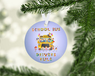 Bus Drivers Rule Blue Ornament