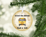 Bus Rock n Roll Tan Ornament