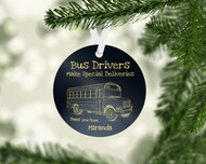Bus Special Delivery Black Ornament