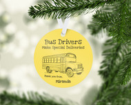 Bus Special Delivery Yellow Ornament