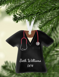 Scrub Top Black Ornament
