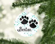 Paw Prints Aqua Ornament