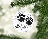 Paw Prints Blue Ornament