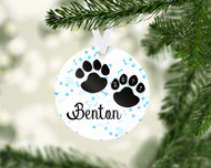 Paw Prints Lt Blue Ornament
