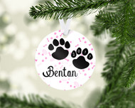 Paw Prints Lt Pink Ornament