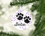 Paw Prints Purple Ornament