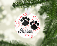 Paw Prints Red Ornament