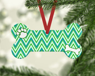Pet Stripes Teal Ornament