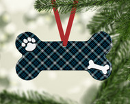 Pet Blue Plaid Ornament