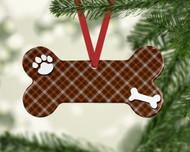 Pet Brown Plaid Ornament