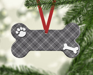 Pet Gray Plaid Ornament