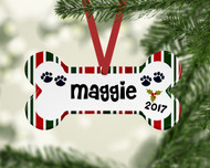 Pet Holiday Stripe Border Ornament